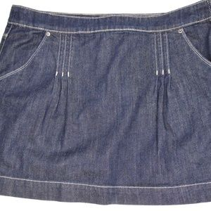 Elle Denim Skirt Dark Blue Wash Pleated Side Zip